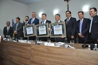 Câmara concede título de cidadão benemérito aos governadores Antonio Denarium, Mauro Mendes e Ronaldo Caiado